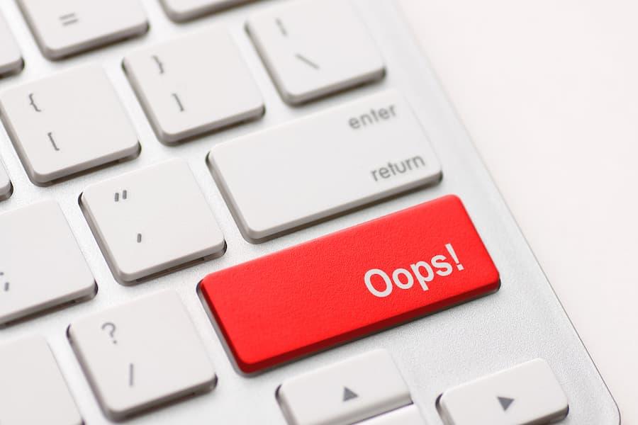 Oops! word on keyboard